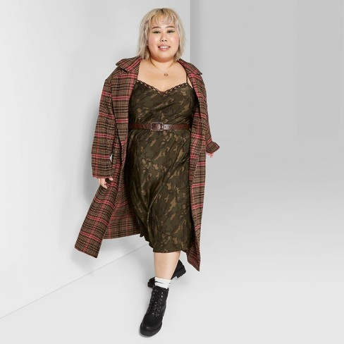 Women's Plus Size Plaid Oversized Button-Front Long Sleeve Wool Coat - Wild Fable™ Brown/Pink - image 1 of 3
