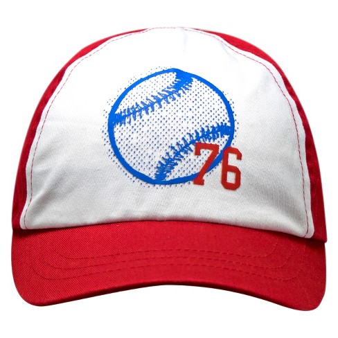 Toddler Boys' 76 Baseball Print Baseball Hat - Circo™ White/Red - image 1 of 3