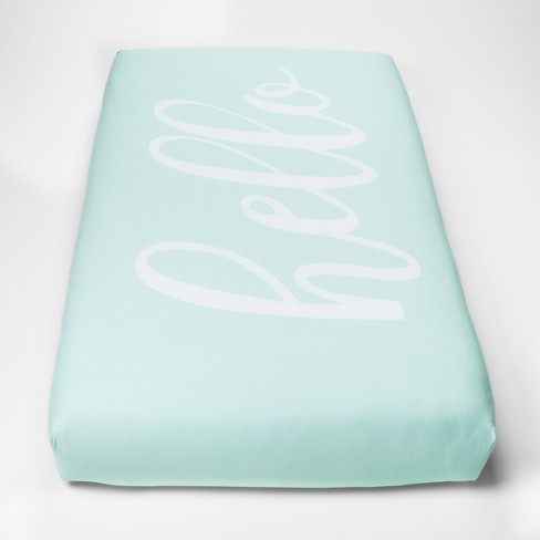 Fitted Crib Sheet Hello - Cloud Island™ Mint - image 1 of 2