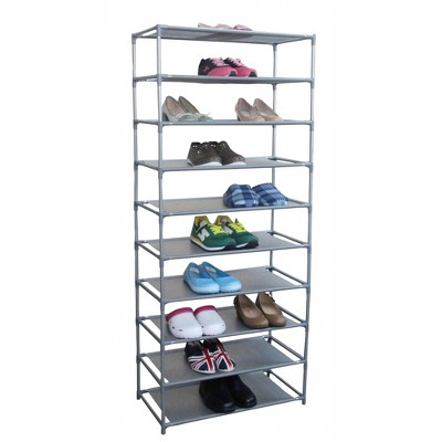 Home Basics 30 Pair Non-Woven Multi-Purpose Stackable Free-Standing Shoe Rack, Grey