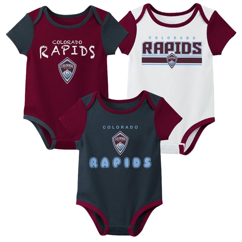 Mls Colorado Rapids Baby 3pk Bodysuit Set 18m
