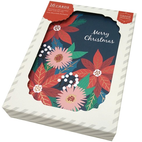 Green Inspired 16ct Holiday Boxed Cards Poinsettias - image 1 of 2