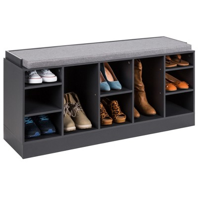 Best Choice Products 46in Shoe Storage Organization Rack Bench for Entryway, Bedroom w/ Padded Seat, 10 Cubbies - Gray