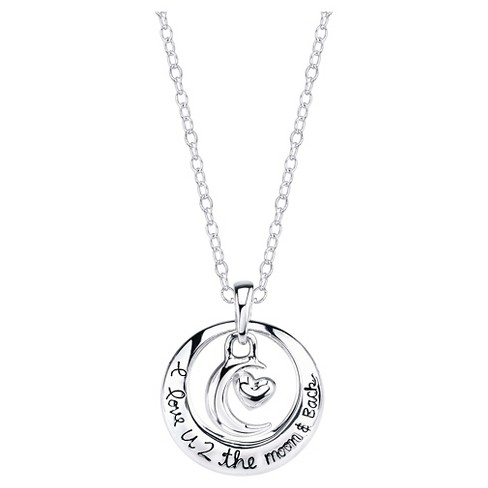 Women's 'I Love You to the Moon and Back' Necklace in Sterling Silver - Silver - image 1 of 2