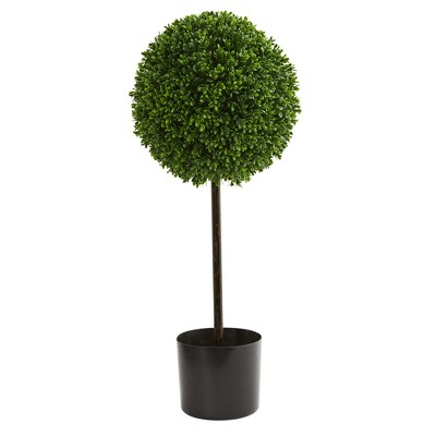 2.5ft Boxwood Ball Artificial Topiary Tree - Nearly Natural