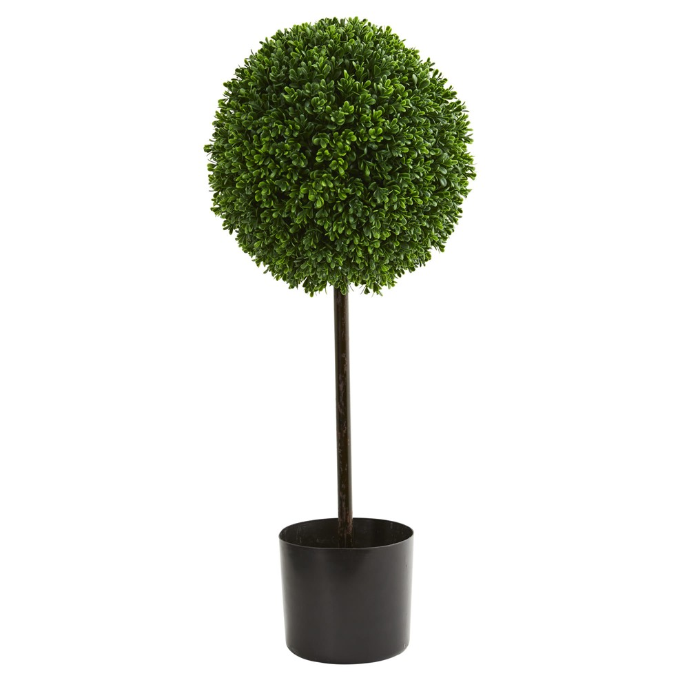 Image of 2.5ft Boxwood Ball Artificial Topiary Tree - Nearly Natural