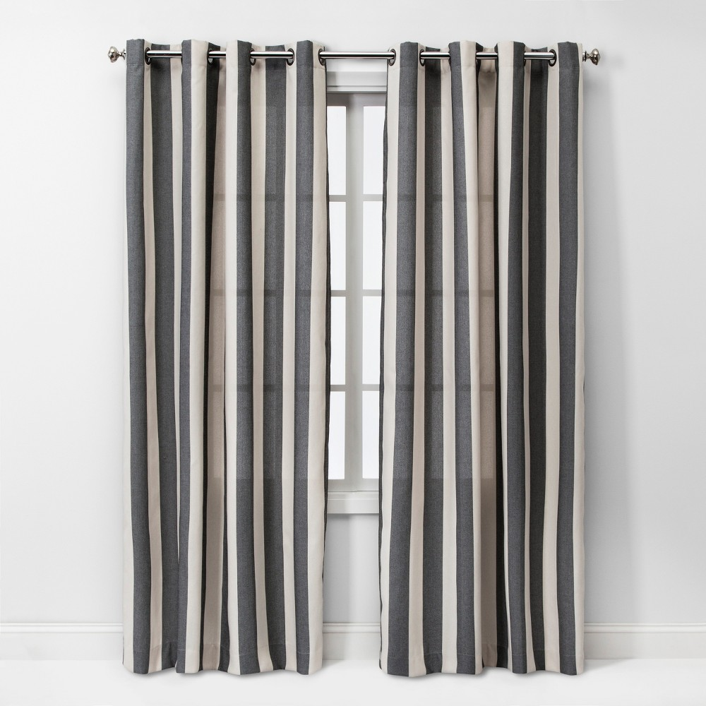 95x54 Cabana Stripe Light Filtering Curtain Panel Charcoal/Cream - Threshold was $34.99 now $17.49 (50.0% off)
