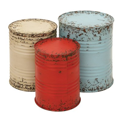 Farmhouse Drum End Tables Set Blue/Red - Olivia & May