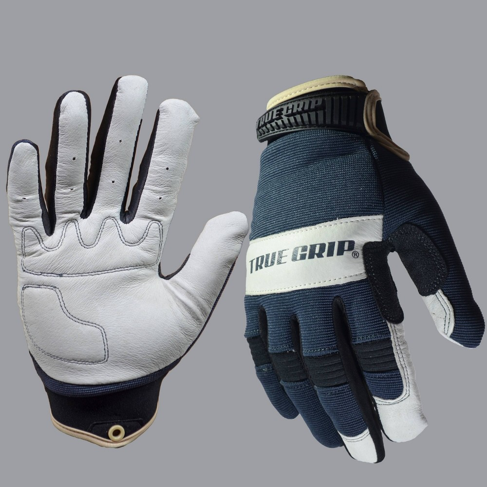 Image of Pigskin Hybrid Gloves Gray - True Grip