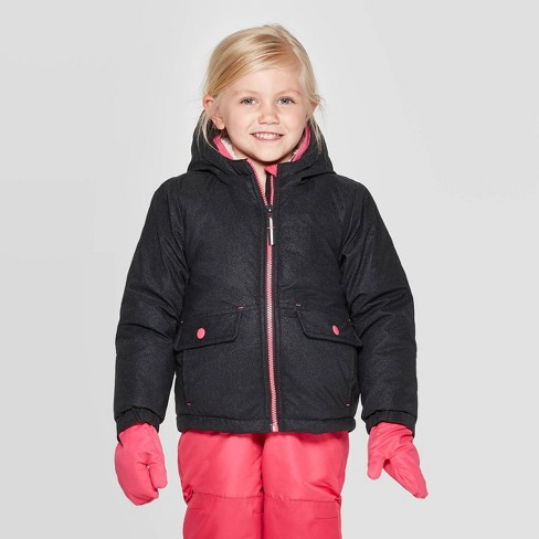 Toddler Girls' Sparkle Tech Fashion Jacket - Cat & Jack™ Black - image 1 of 4