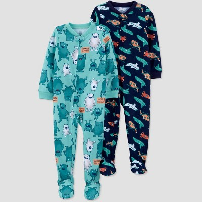 Toddler Boys' 2pk Rocket/Monster Footed Pajama - Just One You® made by carter's Blue