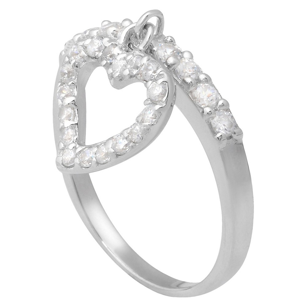 7/10 CT T.W. Round Cut Cubic Zirconia Pave Set Dangle Heart Ring in Sterling Silver (9), Girl's