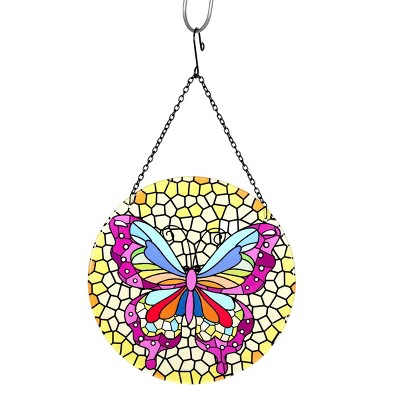 "16.93"" Metal Hanging Mosaic Butterfly Suncatcher - Exhart"