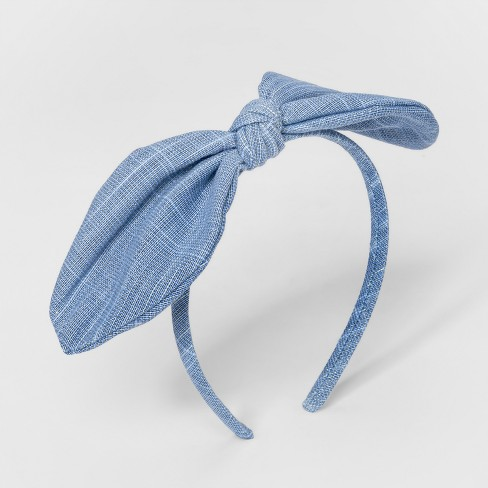 Girls  Canvas Bow Headband - Cat   Jack™ Blue   Target e0570aa145c