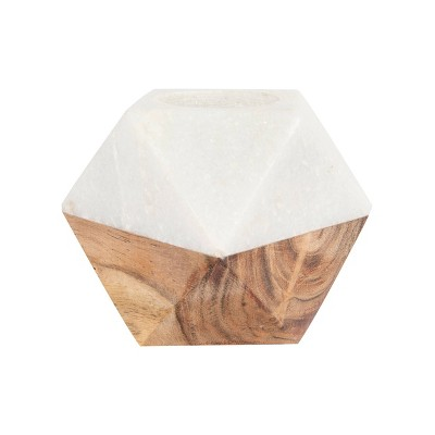 """3"""" x 4"""" Mango Wood Tealight Candle Holder White Marble/Brown - 3R Studios"""