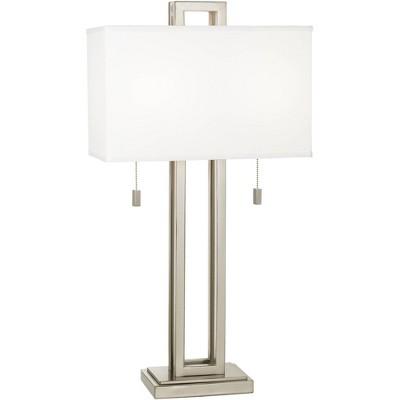 Possini Euro Design Modern Table Lamp Brushed Nickel Open Rectangle White Shade for Living Room Family Bedroom Bedside Nightstand