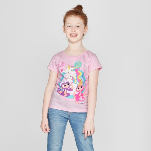 Girls' Fingerlings Short Sleeve T-Shirt - Pink - image 1 of 3