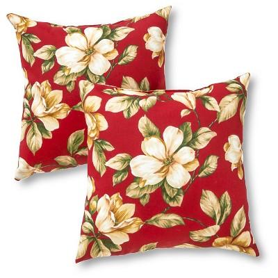 Set of 2 Roma Floral Outdoor Square Throw Pillows - Kensington Garden