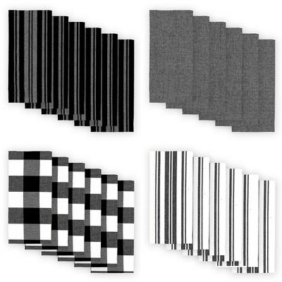 "Farmhouse Living Stripe and Check Napkins, Set of 24 - 20"" x 20"" - Elrene Home Fashions"