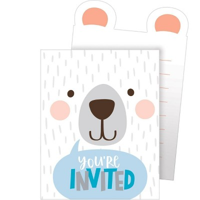 "8ct ""You're Invited"" Birthday Bear Print Invitation"