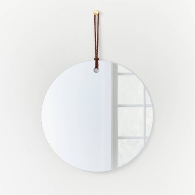 """24"""" Frameless Mirror with Braided Leather Hanging Strap - Threshold™ designed with Studio McGee"""