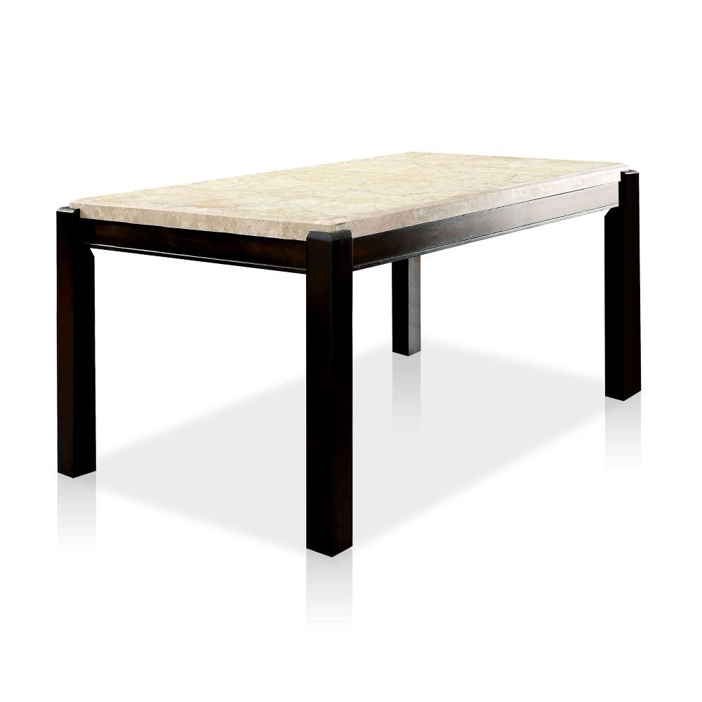 Lanbert Marble Table Top Dining Table Dark Walnut - ioHOMES