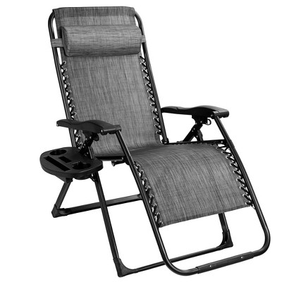 Costway Oversize Lounge Chair Patio Heavy Duty Folding Recliner Gray