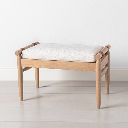 Upholstered Natural Wood Ottoman - Hearth & Hand™ with Magnolia - image 1 of 4