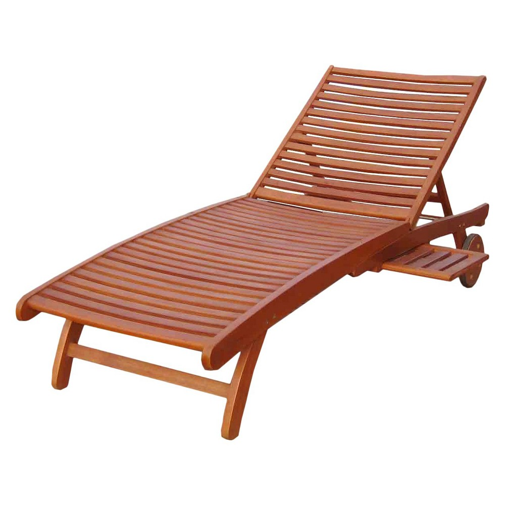 International Caravan Royal Tahiti Acacia Wood Patio Chaise Lounge - International Caravan