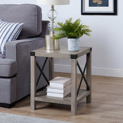 """18"""" Rustic Farmhouse Metal X Frame Side Table With Wood And Metal - Saracina Home : Target"""