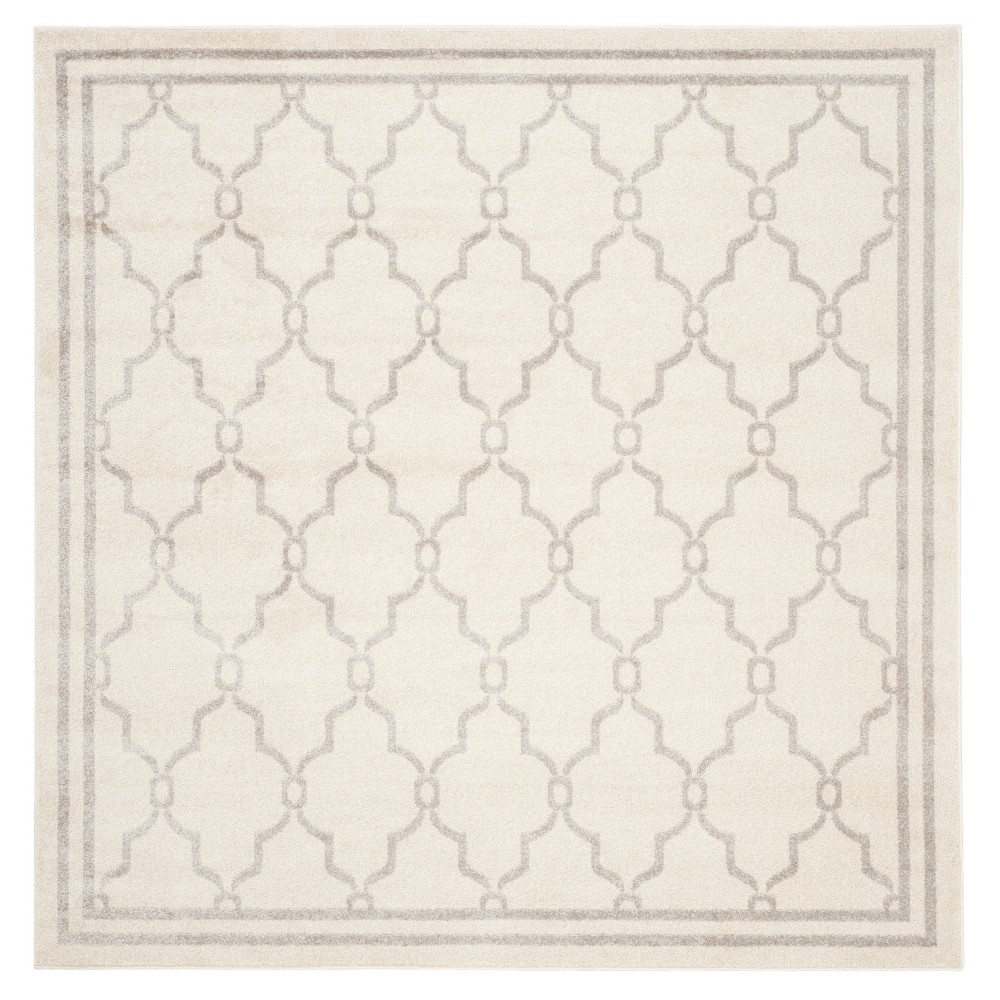 Prato Square 7'X7' Indoor/Outdoor Loomed Rug - Ivory/Light Gray - Safavieh