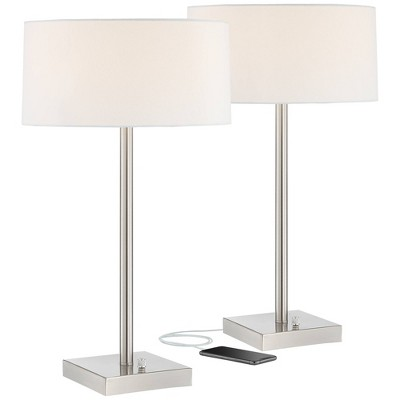 360 Lighting Modern Table Lamps Set of 2 with USB and AC Power Outlet in Base Metal White Drum Shade Living Room Bedroom Bedside