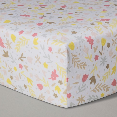 Crib Fitted Sheet Homespun Floral - Cloud Island™ - image 1 of 2