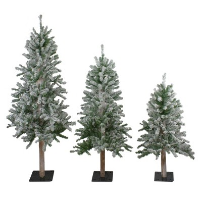 Northlight 3ct Flocked Alpine Artificial Christmas Trees 3ft, 4ft and 5ft - Unlit