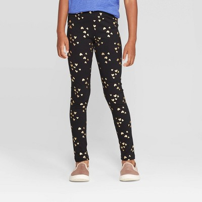 Girls' Gold Foil Heart Leggings - Cat & Jack™ Black