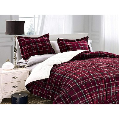 Elegant Comfort Softest, Coziest Premium Quality Heavy Weight Plaid Pattern Micromink Sherpa-Backing Reversible Down Alternative Micro-Suede 3-Piece Comforter Set.