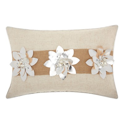 Silver Floral Throw Pillow - Mina Victory