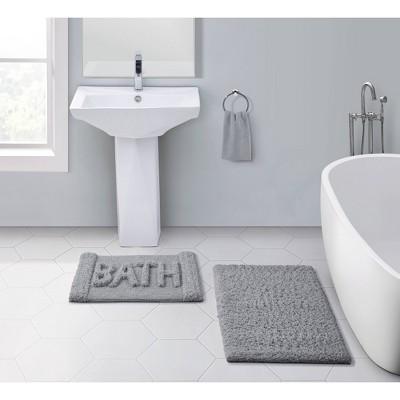 Heathered Bath Rug Set Gray - VCNY