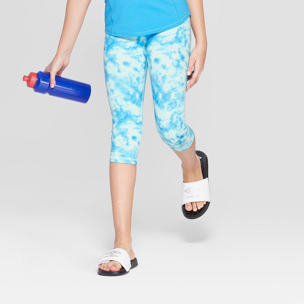 Umbro Girls' Reversible Performance Capri Leggings - Malibu Blue XS