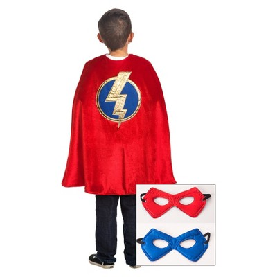 Little Adventures Boys' Red Hero Cape with Power Mask - Red/Blue