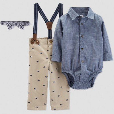 Baby Boys' Whale Print with Suspenders Set - Just One You® made by carter's Brown 3M