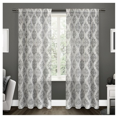 Nagano Belgian Linen Ikat Print Rod Pocket Window Curtain Panel Pair Black Pearl (54 x84 )Exclusive Home