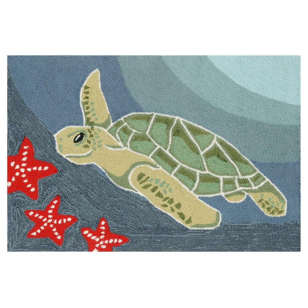 "Image of ""Frontporch Indoor/Outdoor Sea Turtle Ocean Rug 24""""X36"""" Blue - Liora Manne, Size: 2'X3'"""