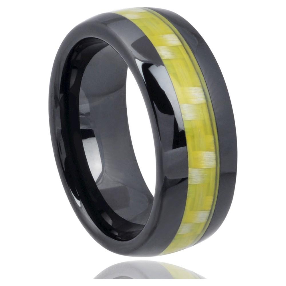 Men's Daxx Carbon Fiber Inlay Band in Ceramic - Black (7) (8mm)