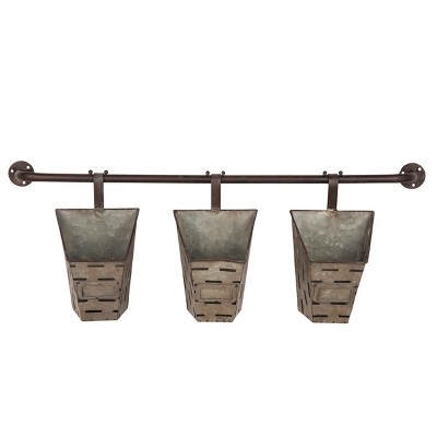 11 H Cone Metal Planters - Dark Silver - Foreside Home&Garden