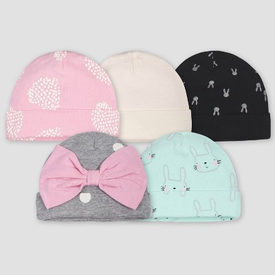 Gerber Baby Girls' 5pk Bunny Caps - Green/Pink/Gray 0-6M