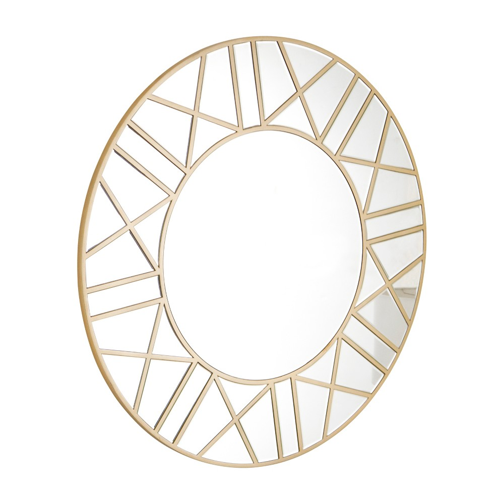 "Image of Abbyson Living 39""x39"" Aurora Roman Gold Round Mirror Gold"