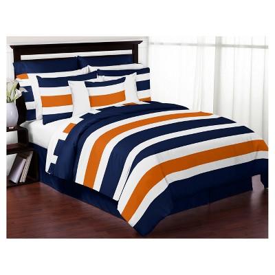 Navy & Orange Stripe Comforter Set (Full/Queen) - Sweet Jojo Designs