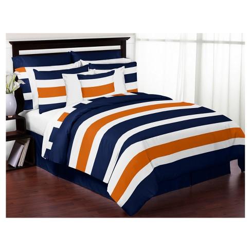 . Navy   Orange Stripe Comforter Set  Full Queen    Sweet Jojo Designs