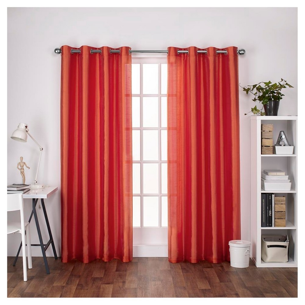 Chatra Faux Silk Grommet Top Window Curtain Panel Pair Orange Crush (54